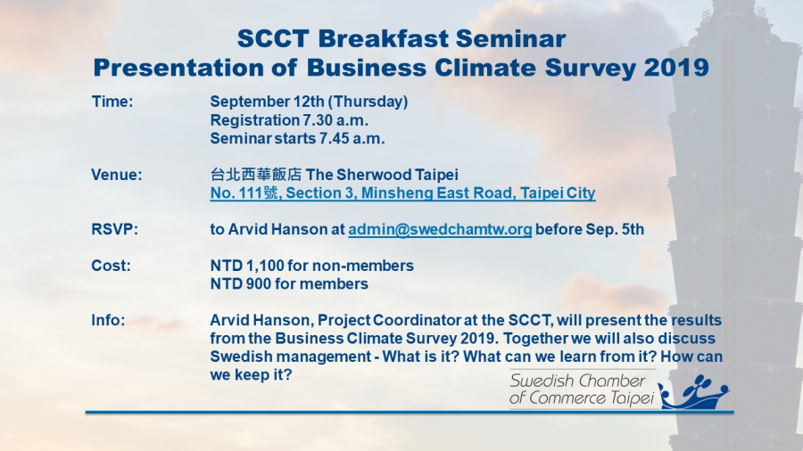 SCCT Breakfast Seminar - Presentation of Business Climate Survey 2019 image